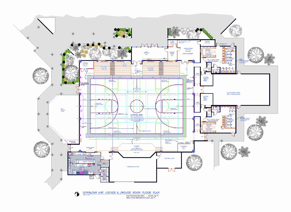 Spanish river christian school romberger assoc for Gym floor plan design