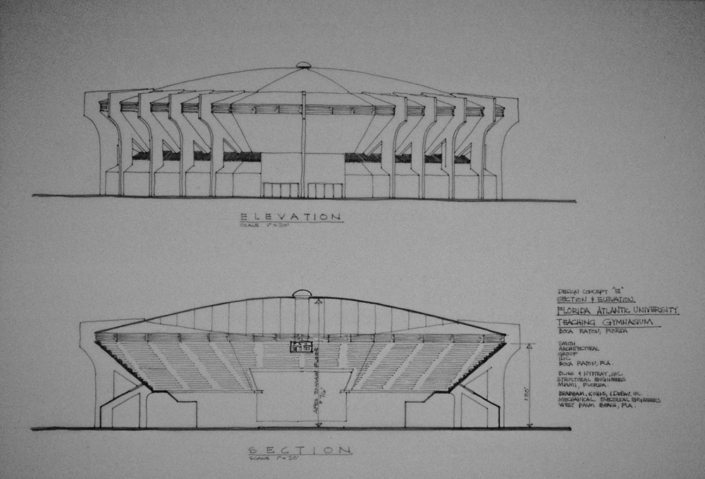 Gym Tensile Structure Design Study Elevation Section