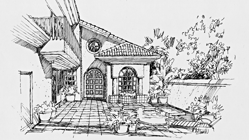 Concept Home #5 Entry Courtyard